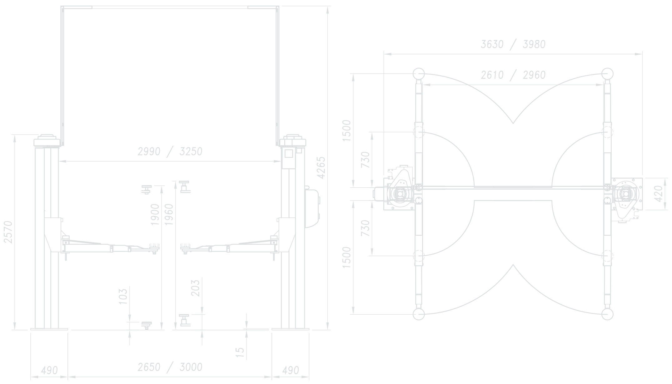 2 Post Lift Werther 254S-4 Diagram